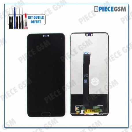 ECRAN LCD + VITRE TACTILE pour HUAWEI P20 + BOUTON HOME NOIR